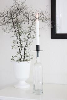 Flyttbar ljushållare i glasflaska